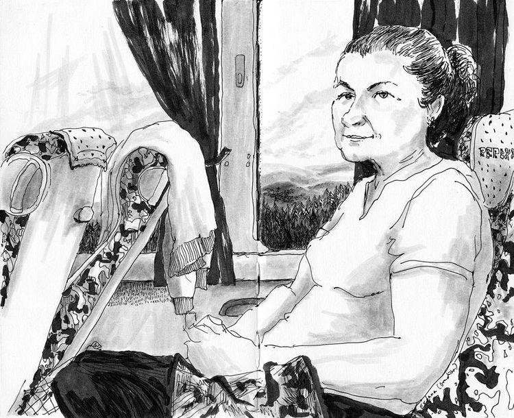 llustration: Marielle Durand, extrait de son carnet de voyage dans les Balkans.